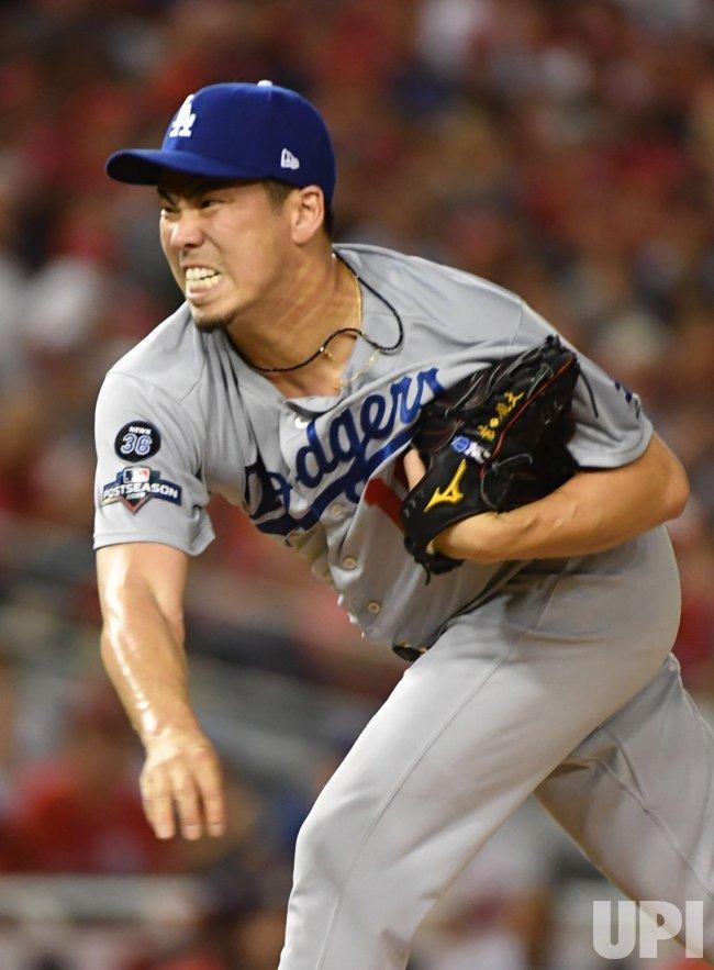 Dodgers' Kenta Maeda delivers during NLDS Game 4