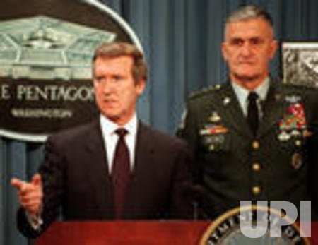Defense Secretary William Cohen and Gen. Hugh Shelton brief reporters on operation Desert Fox