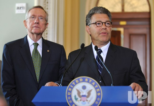 Al Franken arrives on Capitol Hill in Washington