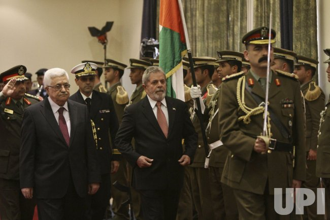Brazilian President Lula da Silva meets with Palestinian President Abbas in Israel