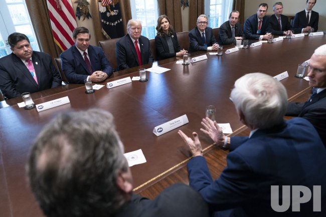 United States President Donald J. Trump meets with governors-elect at the White House.