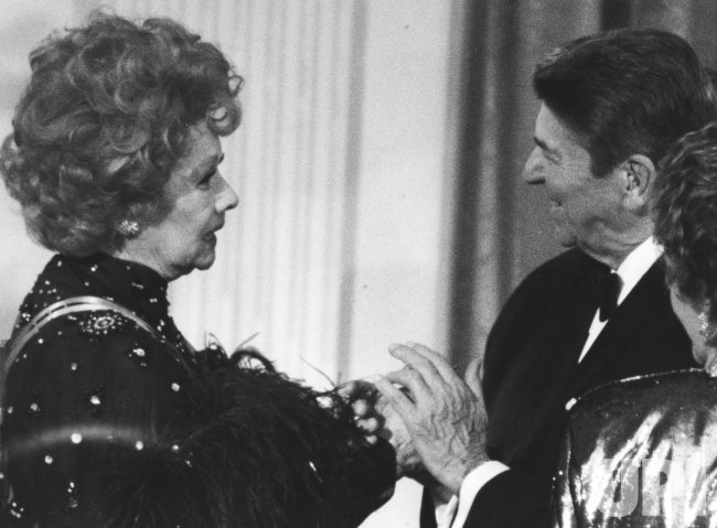 President Ronald Reagan greets Lucille Ball