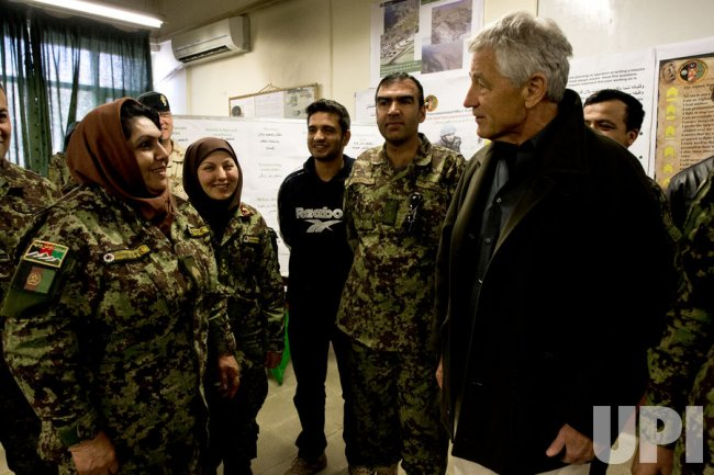 Secretary of Defense Hagel visits Afghanistan