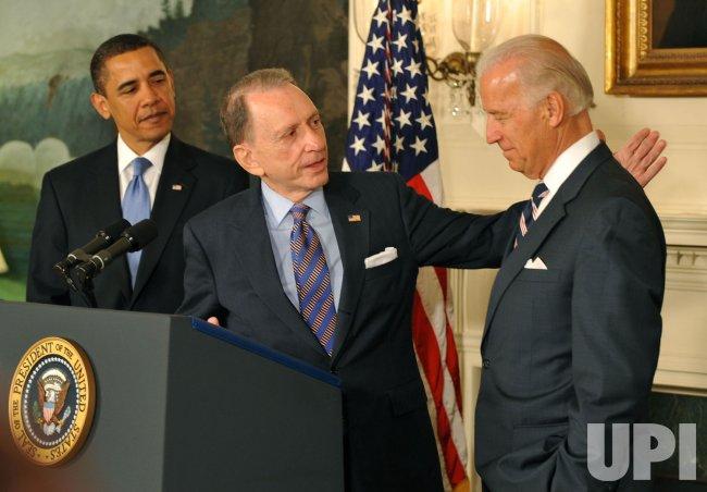 Senator Specter, President Obama and Vice President Biden speak on Spectors party change in Washington