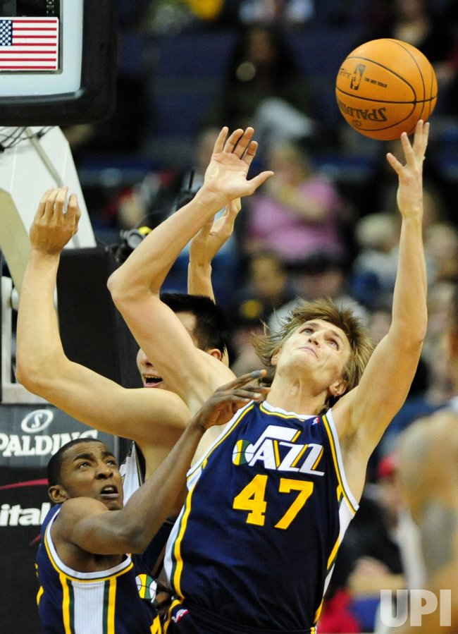 Utah Jazz Andrei Kirilenko goes up for a rebound in Washington