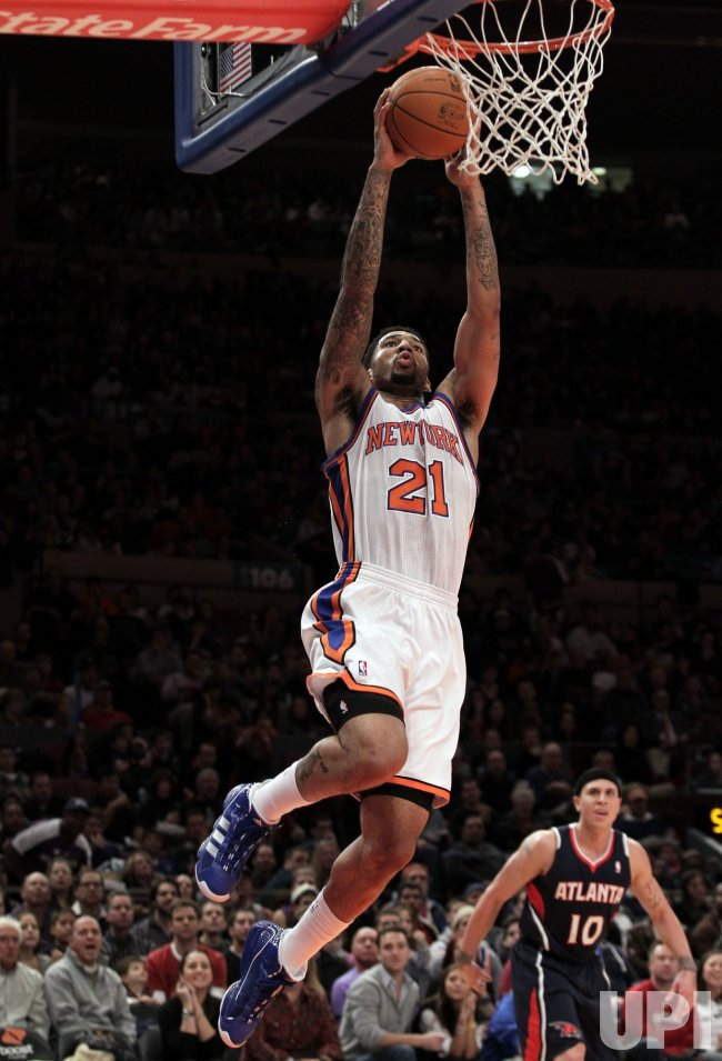 New York Knicks Wilson Chandler dunks at Madison Square Garden in New York