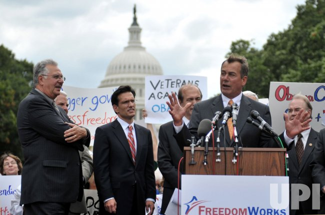 House Minority leader John Boehner (R-OH) speaks out against Obama's health care plan at a rally in Washington