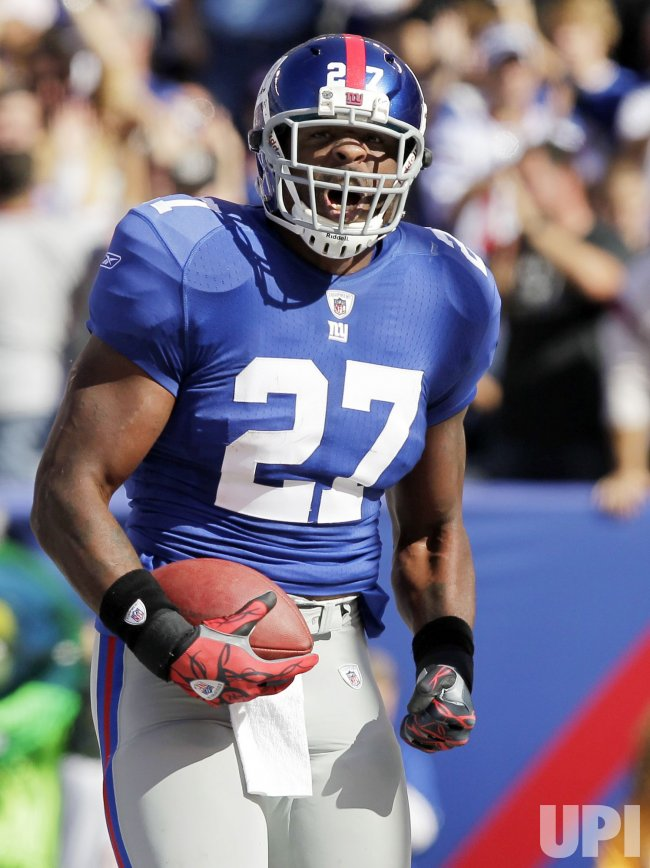 New York Giants Brandon Jacobs reacts after scoring a touchdown at New Meadowlands Stadium in New Jersey