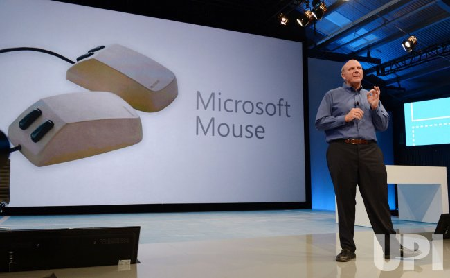 Microsoft CEO Steve Ballmer shows the new tablet called Surface during a news conference in Los Angeles