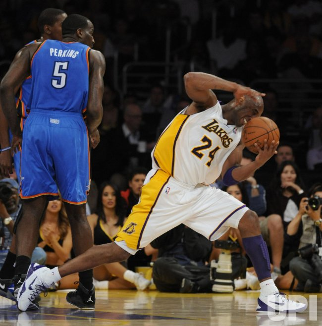 Los Angeles Lakers play Oklahoma City Thunder in Los Angeles