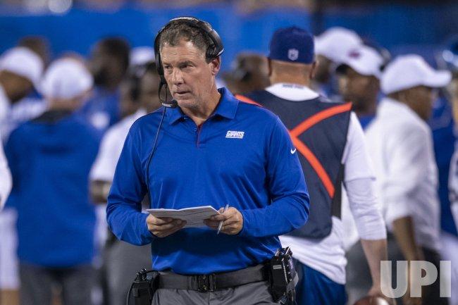 New York Giants head coach Pat Shurmur looks on