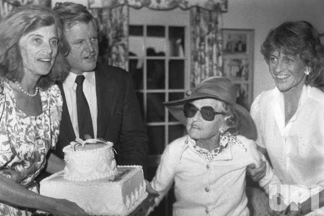 Rose Kennedy with birthday cake on her 93rd birthday