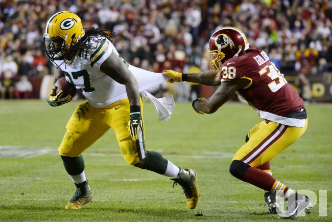 Green Bay's Eddie Lacy drives for a first down