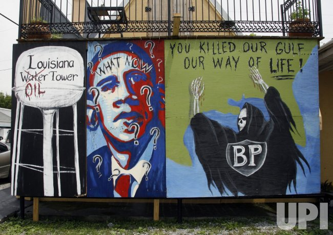 Mural in Lockport, Louisiana, protests BP oil spill