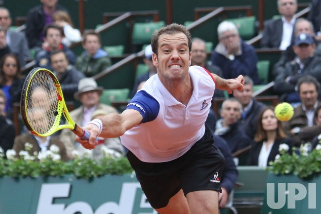 Richard Gasquet plays his quarterfinal match at the French Open