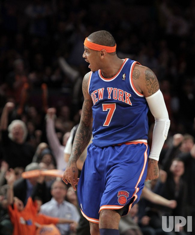 Carmelo Anthony plays his first game ever as a member of the New York Knicks at Madison Square Garden in New York