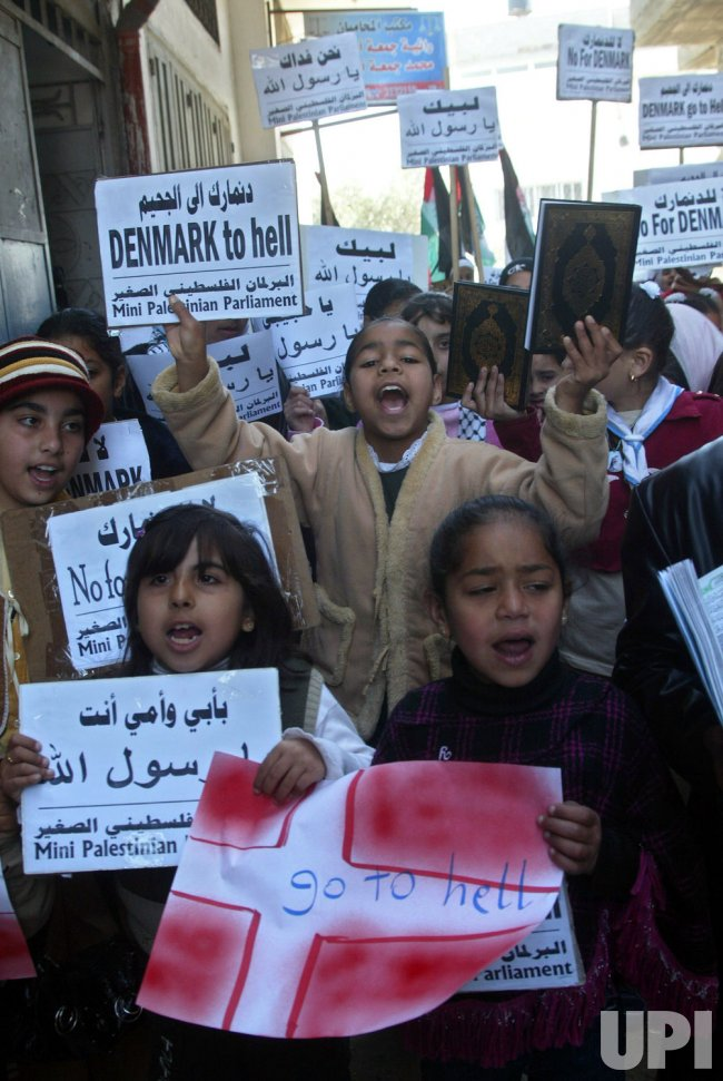 Palestinians protest cartoon of Prophet Mohammad in Gaza