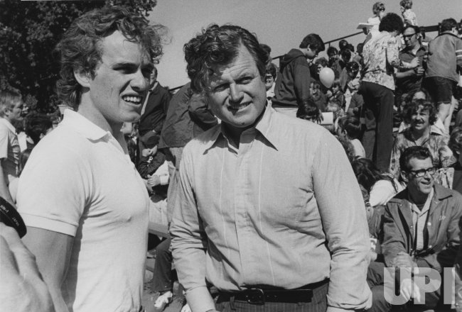 Ted Kennedy and Joseph P. Kennedy II attend Special Olympics for retarded children