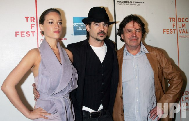 "Neil Jordan, Colin Farrell and girlfriend Alicja Bachleda arrive for the Premiere of ""Ondine"" at the Tribeca Film Festival in New York"