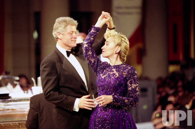 First Lady Hillary Clinton dances with her husband President Bill Clinton