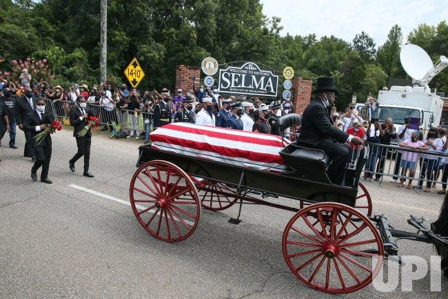 John Lewis Funeral Procession over the Edmund Pettus Bridge in Alabama