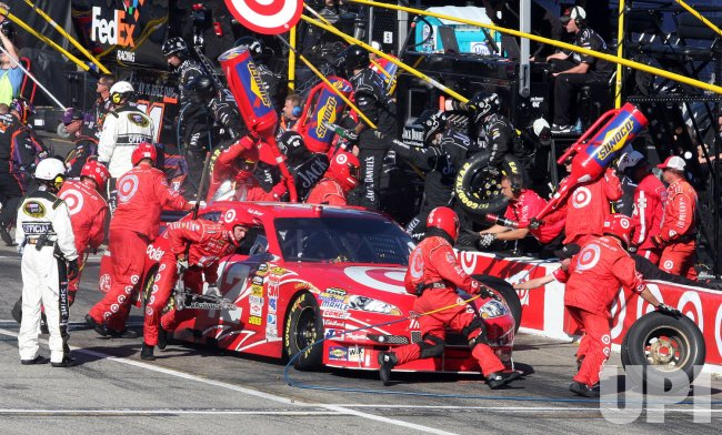 Juan Pablo Montoya pits during the NASCAR race start at Loudon, New Hampshire