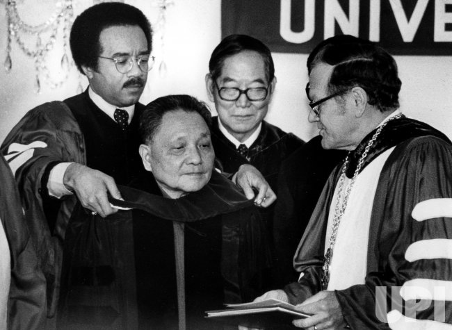 Chinese Vice Premier Deng Xiaoping is awarded an honorary Doctor of Law degree from Temple University.