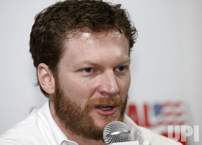 Dale Earnhardt Jr. at NASCAR media tour press conference in Concord, North Carolina