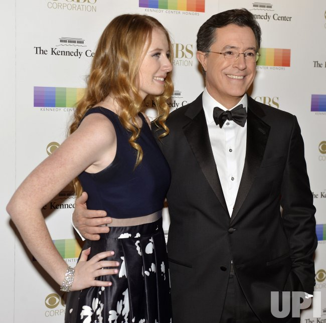 stephen colbert and daughter madeline arrive for kennedy