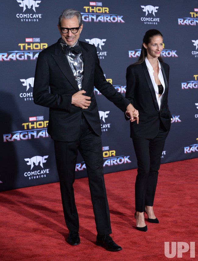 "Jeff Goldblum and Emilie Livingston attend the ""Thor: Ragnarok"" premiere in Los Angeles"