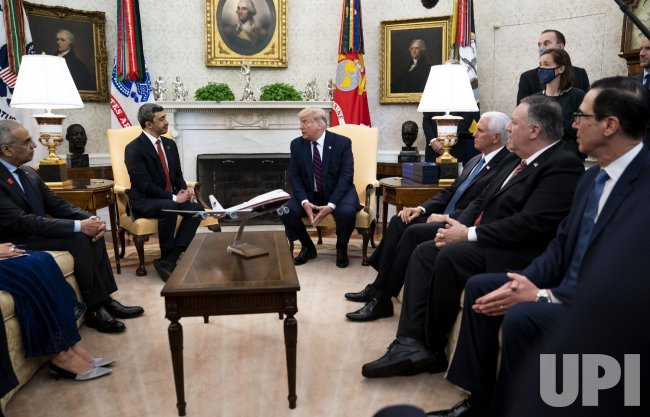 Trump meets with Minister Abdullah bin Zayed bin Sultan Al Nahyan of the UAE at the White House