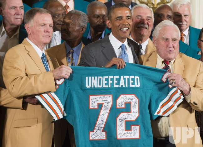 President Obama Welcomes the 1972 Undefeated Miami Dolphins to the White House in Washington