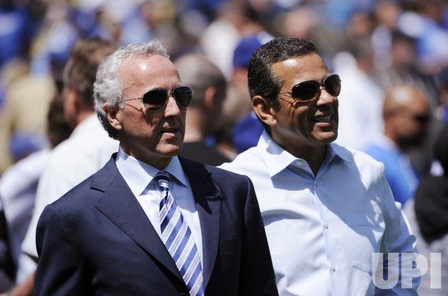 Dodgers owner Frank McCourt and Los Angeles mayor Antonio Villaraigosa at Dodger Stadium in Los Angeles