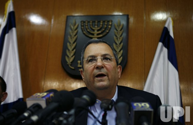 Israel's Defence Minister Barak addresses media in Jerusalem