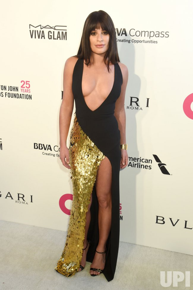 Lea Michele attends the Elton John Aids Foundation Oscar viewing party in Los Angeles