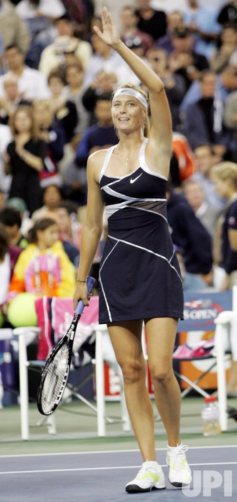 Sharapova competes at the US Open tennis in New York