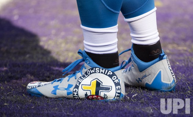Custom Cleats before the Lions and Ravens game in Baltimore