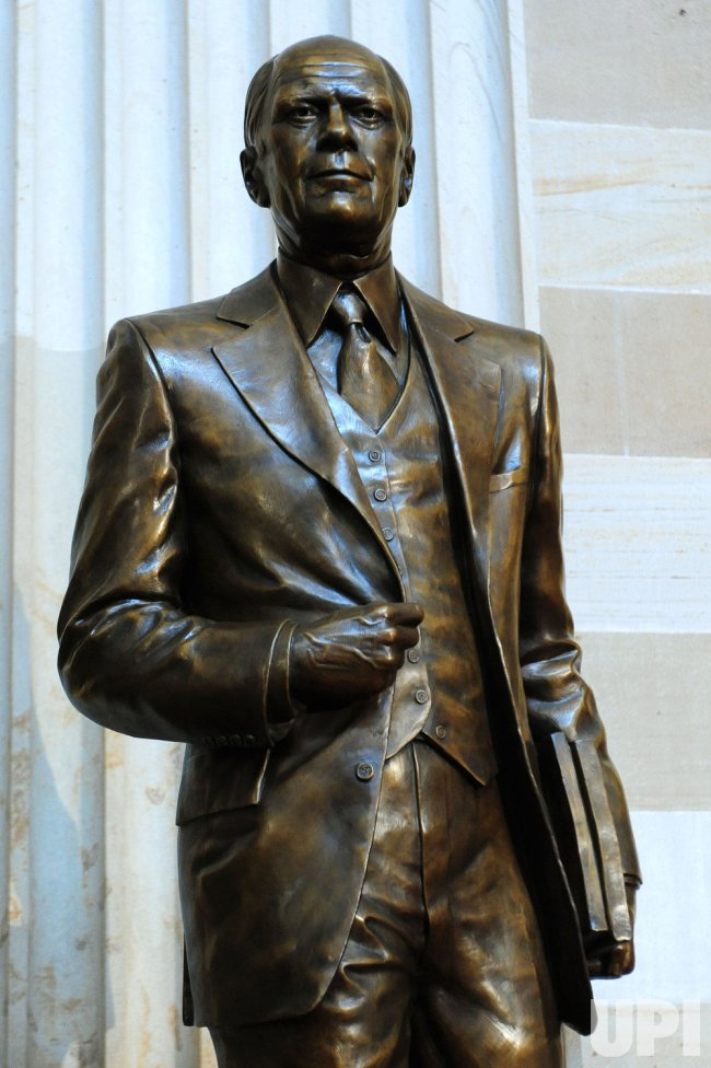 A statue of the late former President Gerald R. Ford is unveiled in Washington