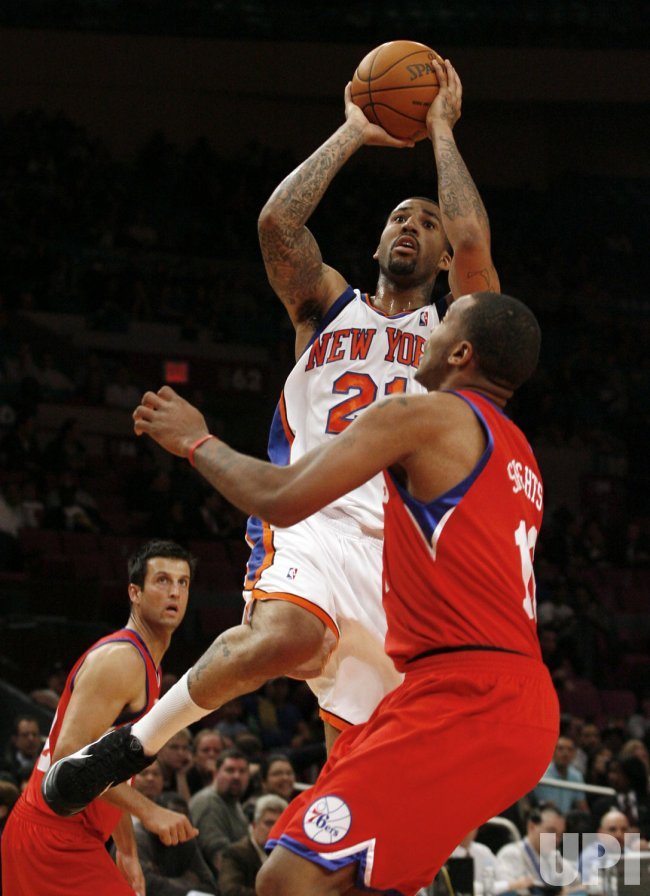 New York Knicks Wilson Chandler drives to the basket in the first quarter of a preseason game against the Philadelphia 76ers at Madison Square Garden in New York City