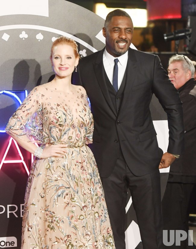 Jessica Chastain and Idris Elba attend the world premiere of Molly's Game at Vue West End.