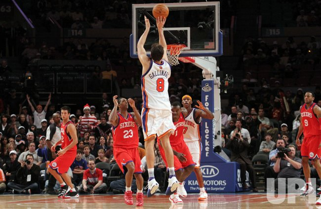 New York Knicks Danilo Gallinari hits a 3-point shot in the fourth quarter against the Philadelphia 76ers at Madison Square Garden in New York