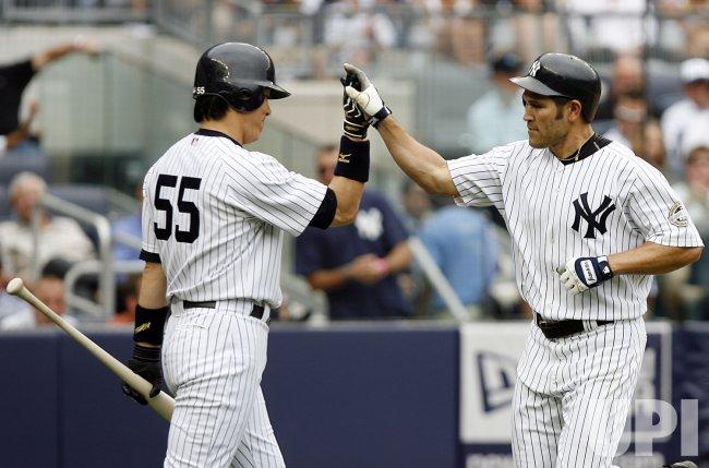 New York Yankees Johnny Damon and Hideki Matsui at Yankee Stadium in New York