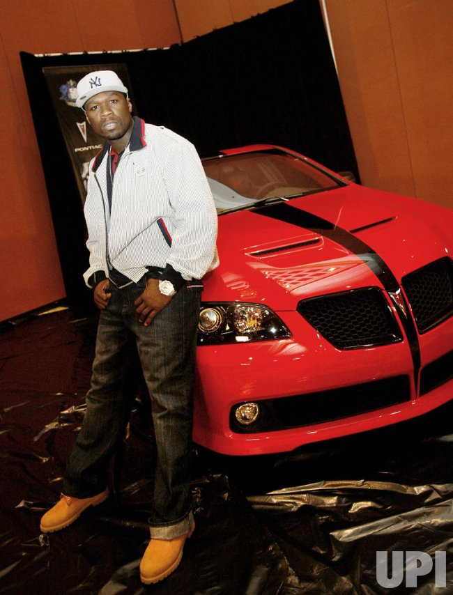 Rapper 50 Cent shows off car in Las Vegas