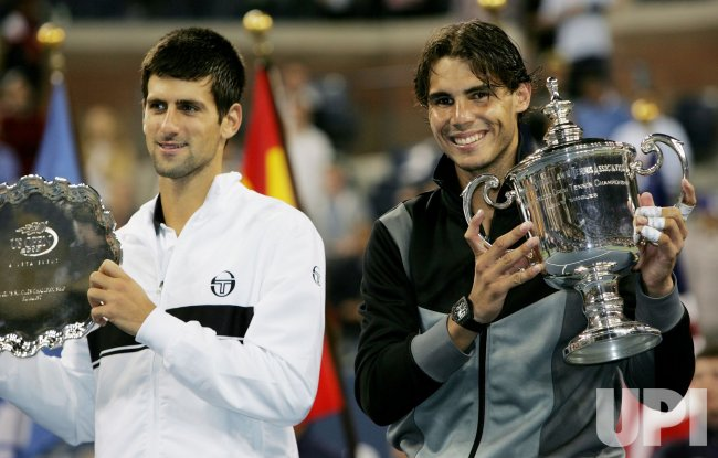 Rafael Nadal and Novak Djokovic play for mens' final championship at the U.S. Open in New York