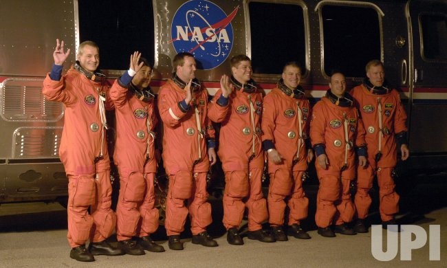 The crew of NASA's Space Shuttle Endeavour departs for launch pad at the Kennedy Space Center