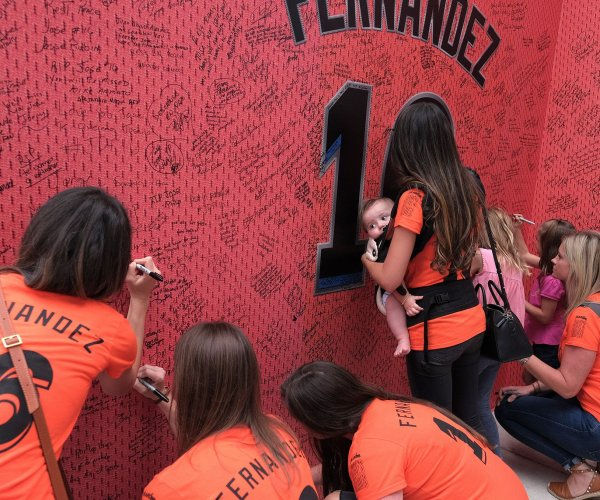 Paying respect to Miami Marlins pitcher Jose Fernandez