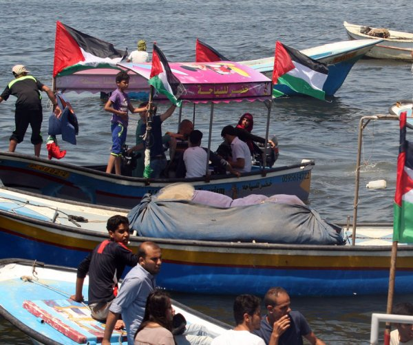Palestinians protest seizing of Gaza-bound flotilla vessel
