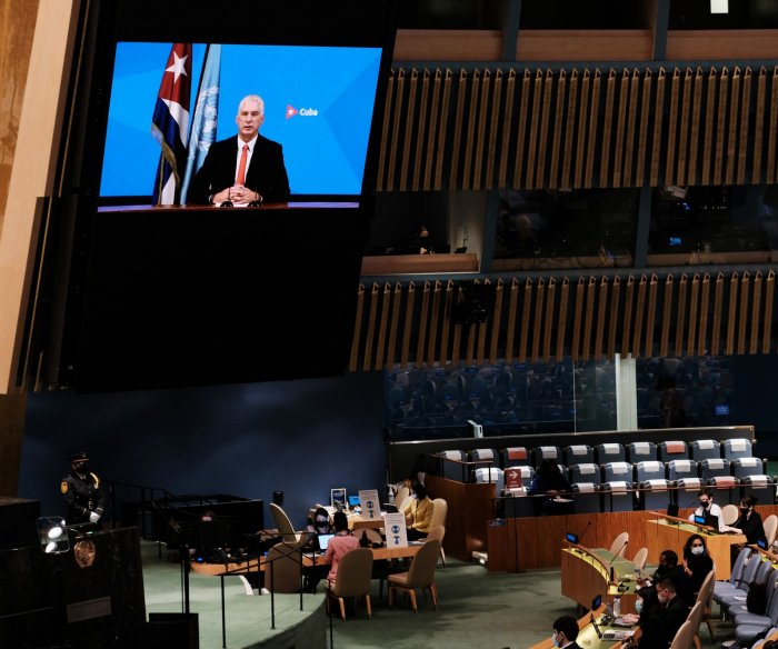 Cuban president calls on United Nations to help end U.S. sanctions