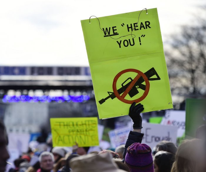 19 years after Columbine, students walk for gun reform