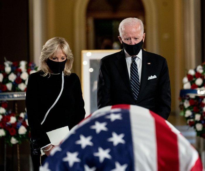 Ruth Bader Ginsburg lies in state at U.S. Capitol; Biden, Harris, Pelosi visit